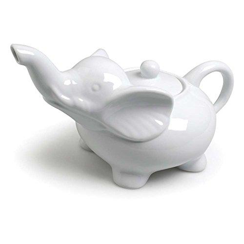 Abbott Collection Porcelain Elephant Teapot, White