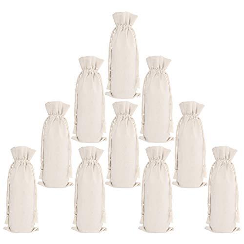 ElegantPark 10 Packs Canvas Wine Bags Bulk Wine Bottle Bags With Drawstring Reusable Wine Gift Bag Party Wedding Gifts