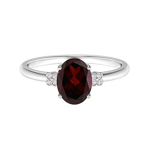 Shine Jewel 0.50 Ctw Granate Corte Ovalado Piedra Preciosa 925 esterlina Piedra Individual de Plata Anillo apilable Solitario (13)
