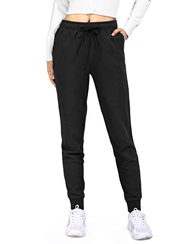 Promover Sweatpants for Women with Pocket Elastic Waist Sports Running Buttery Soft Pant(Black,S)