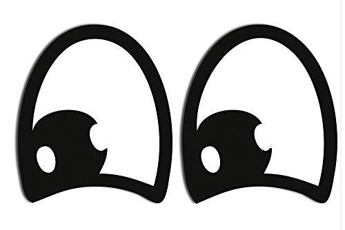 SkinoEu® 2 Stück Vinyl Lustiger Aufkleber Autoaufkleber Funny Stickers Augen Auto Moto Motorrad Fahrrad Skate Helm Fenster Spiegel Tür Tuning B 77