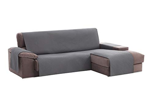Textilhome - Copridivano Salvadivano Chaise Longe Adele - Color Grey -BRACCIOLO Destro - Protezione per divani Imbottiti - Dimencione 200cm -(Visto di Fronte).