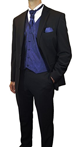 Paul Malone Anzug Hochzeitsanzug Set 7tlg -Stretch- Schwarze Schattenstreifen + Hochzeitswesten Set royal blau + Hochzeitshemd weiß