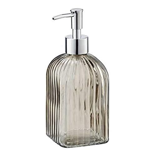 WENKO Dispenser sapone Vetro quadrato marrone - Dispenser sapone liquido Capacità: 0.52 l, Vetro, 7.5 x 19 x 7.5 cm, Marrone