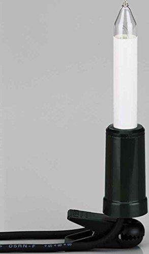 Hellum Lichterkette außen / 20 Filament warm-weiß Schaftkerzen/Länge 19 m + 2x1,5 m Zuleitung, schwarzes Gummi-Kabel/Fassungsabstand 100 cm/teilbarer Stecker/Weihnachten / 845501