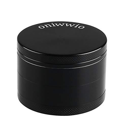 """oniwwio 2.2"""" Herb Grinder Premium Zinc Alloy 4 Pieces Black Spice Herb Grinder with Pollen Catcher, Lightweight for…"""
