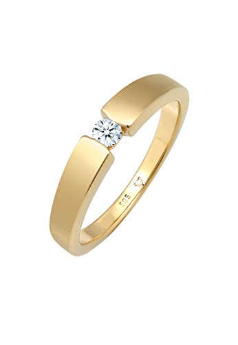 DIAMORE Ring Damen Verlobung Diamant (0.10 ct.) in 585 Gelbgold