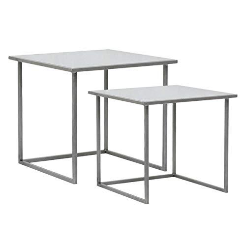 Hogar Deco - Tavolino da caffè, 2 pezzi, in metallo, quadrato, colore: Argento