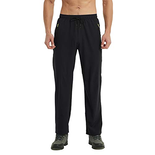Rapoo Men's Workout Athletic Pants with Zipper Pockets Elastic Waist Lightweight Waterproof Hiking Jogging Running Pants for Men(Black,34)