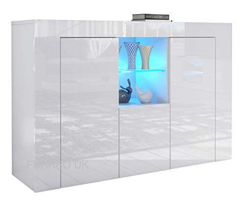Furneo Matt & High Gloss White Cabinet Cupboard Sideboard Unit Clifton05 Blue LED Light