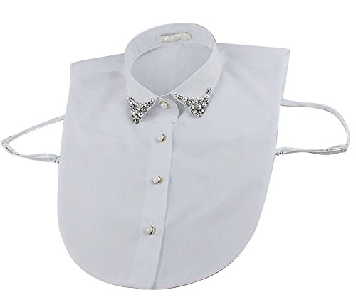 Vivian Half Shirt Blouse Detachable Fake Collar with Pearl and Rhinestone (White)