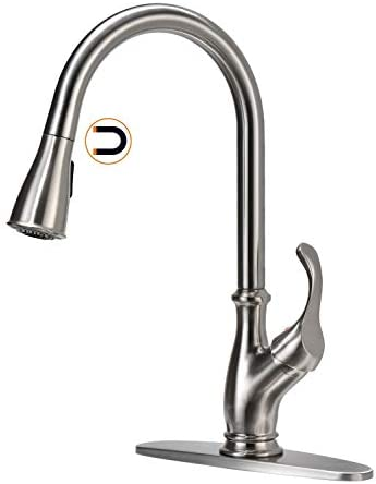 APPASO Kitchen Faucet with Pull Down Magnetic Docking Sprayer Single Handle One Hole High Arc product image