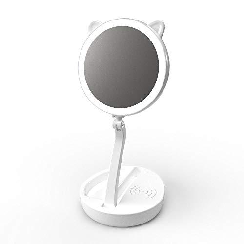 NBVCX Wohnaccessoires LED Smart Makeup Spiegeltischlampe Drahtloses Laden Dreifach doppelseitiger hochauflösender drehbarer 5-Fach vergrößerter Akku-Speicher