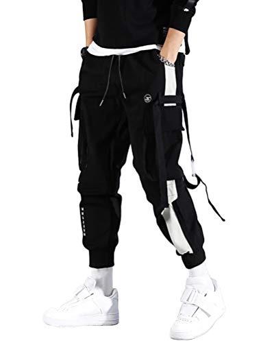 ORANDESIGNE Herren Cargohose Arbeit Kampf Techwear Hose Hip Hop Mehrere Taschen Tapered Hosen Schnalle Riemen Jogginghose Freizeit Hose E Schwarz M