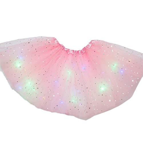 Delisouls Falda de tutú para niñas, linda princesa de lujo esponjosa, lentejuelas LED iluminadas Pettiskirt Ballet vestido luminoso falda de tul brillante