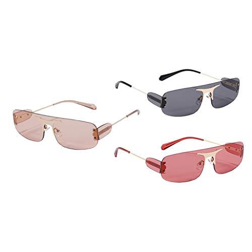 Colcolo Gafas de Sol Sin Montura para Mujer de La Vendimia 3pcs Gafas de Lentes Teñidas Clásicas Retro Anti UV