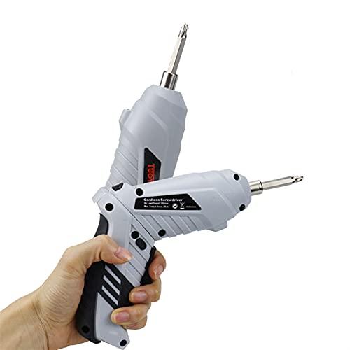 MIJPOJAN Taladro eléctrico inalámbrico multifuncional Herramientas eléctricas eléctricas 3.6V USB Destornillador eléctrico Batería de litio Destornillador de perforación recargable Herramientas de har