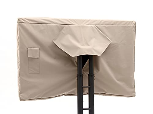 Covermates Outdoor Full TV Cover – Durable Polyester, Weather Resistant, Remote Pocket, TV Covers-Tan