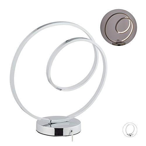 Relaxdays tafellamp cirkel, aluminium, modern design, LED tafellamp woonkamer & slaapkamer, H: 36 cm, zilver, metaal, kunststof