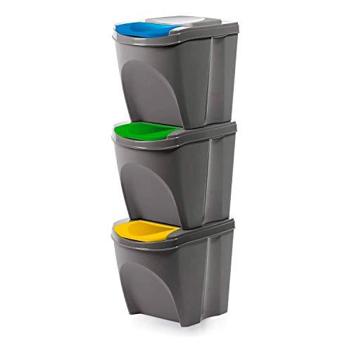 Prosperplast Juego de 3 cubos de basura con compartimentos 3 x 25 Litros, color gris