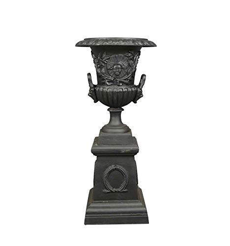HTdeco - Jardin - Vasques et vases - Vase Médicis en Fonte de Fer Noire avec Socle - H: 103 cm