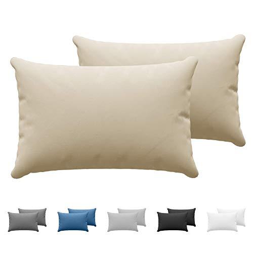 Dreamzie Juego de 2 x Fundas de Almohada 40x60 cm Beige 100% Algodon Jersey - Funda de Almohada Algodon 40x60 - Funda Cojin para Cama 40x60 - Protector de Almohada