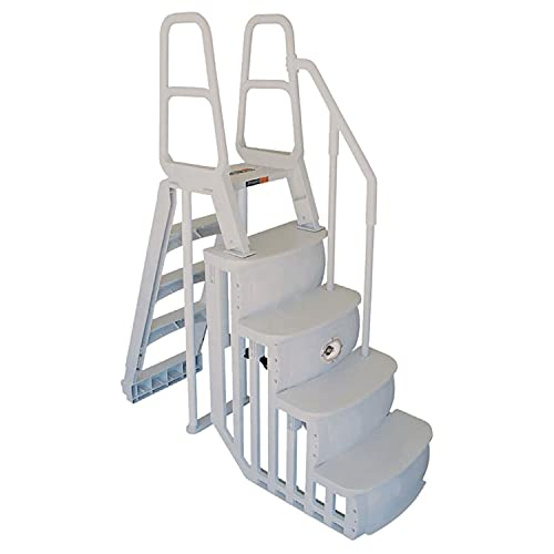 Main Access 48-54 Inch Heavy-Duty Adjustable Above Ground Swimming Pool Smart Step and Ladder Entry System with Handrails, Taupe