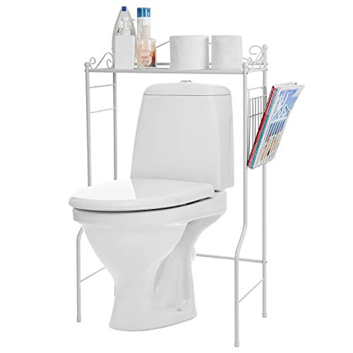 Space Saver Design Metal Storage Organizer Rack/Freestanding Bathroom Shelf w/Magazine Basket, White
