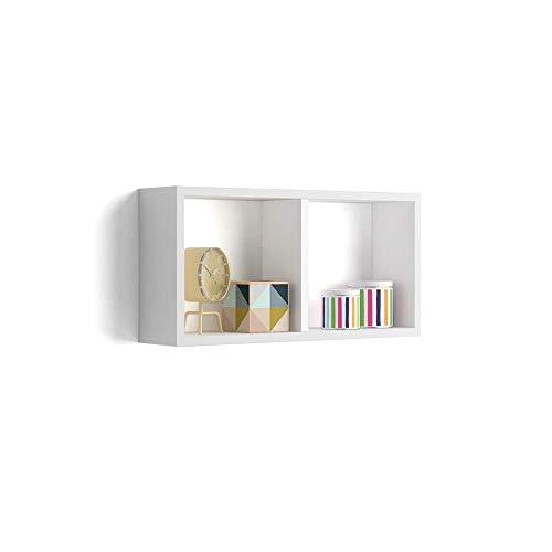 Mobili Fiver, Estante en Forma de Cubo, Modelo First, de MDF, 59 x 14,5 x 30 cm (Blanco Mate)