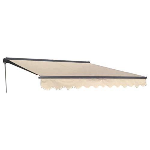 ALEKO Manual Retractable Half Cassette Patio Awning, 12x10 Ft Manual Exterior Sunshade Canopy with Hand Crank – Ivory