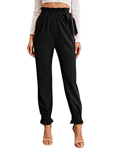 Floerns Women's Paper Bag Waist Knotted Tapered Pants Black L
