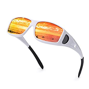 IGnaef Mirrored Fit Over Glasses Sunglasses HD Polarized to Wear as Fit over Prescription Glasses for Driving  White/Red