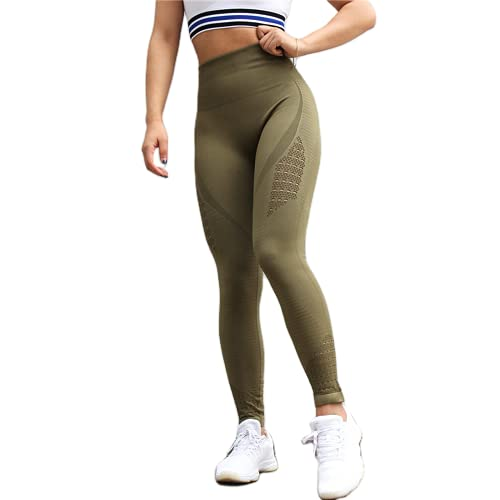 QTJY Energy Leggings sin Costuras Pantalones de Yoga de Cintura Alta para Mujer Leggings Deportivos súper elásticos Gimnasio Celulitis Pantalones para Correr A S