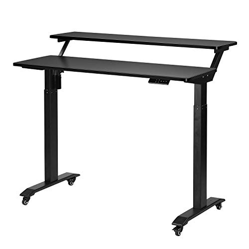 UNICOO - 2 Tier Electric Height Adjustable Standing Desk, Electric Standing Workstation Home Office Sit Stand Up Desk (Black Top/Black Legs - Electric- 2 Tier)