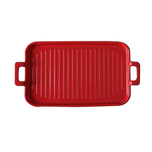1 Piece Bakeware Creative Binaural Ceramic Baking Pan Baking Sheet Red
