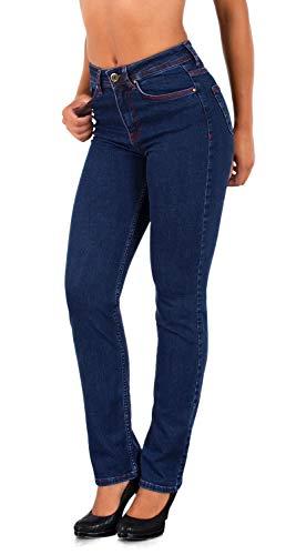 ESRA Damen Straight Fit Jeans Hose Damen Jeanshose gerader Schnitt bis Übergröße G500