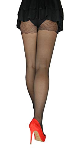 Marilyn elegante panty met geborduurde applicaties 40 denier