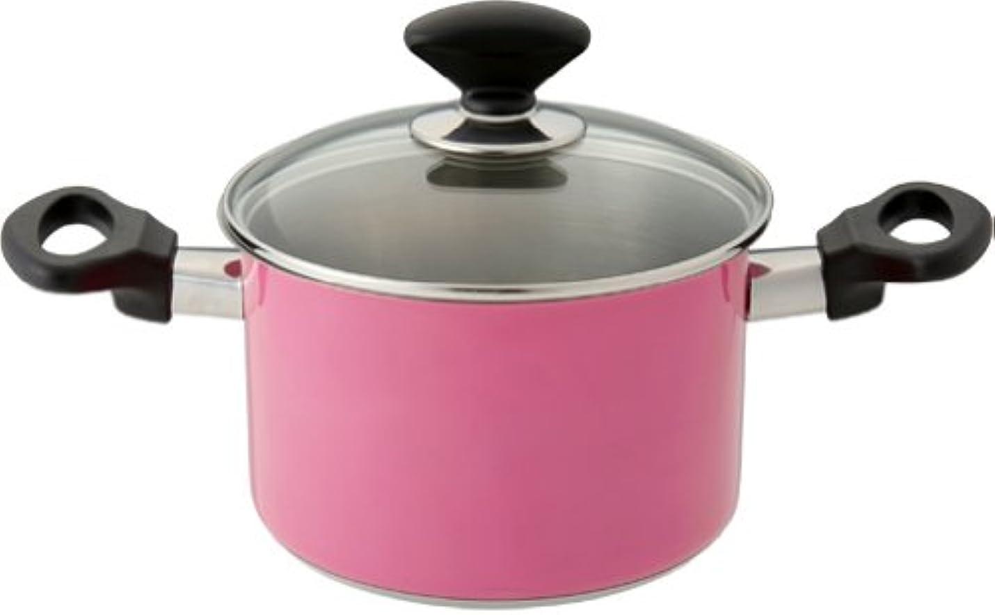 土砂降りゲージデータムマイヤー 両手鍋 「ピンク ステンレス ビューティー」 IH両手鍋18cm IH/ガス「オール熱源対応」 SK-W18PK