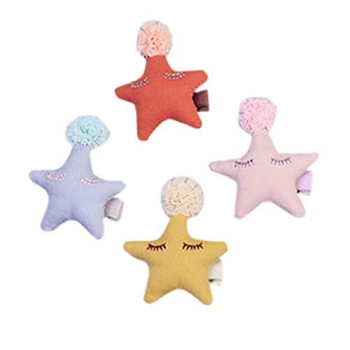 Lurrose 4pcs étoile dentelle boule cheveux pince à cheveux chiffon épingle à cheveux épingle à cheveux Bobby Pin mignonne accessoires de cheveux pour les enfants (orange + rose + bleu + jaune)