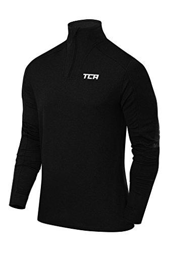 TCA Homme Cloud Polaire de Running Thermique Zippé 1/4 de Long avec Poche Zippée - Noir, M