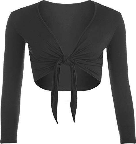 Marietta Womens Tie Up Crop Shrug Wrap Bolero Ladies Cardigan Top Sizes 8-26 (Black, 16-18)