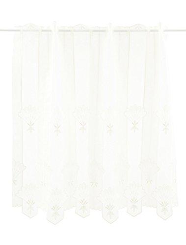 Tenda della Finestra Blossom Stoffa Doppia Altezza 90 cm | può Scegliere la Larghezza in segmenti da 15,5 cm, Come Vuole | Colore: Crema | Tendine Cucina