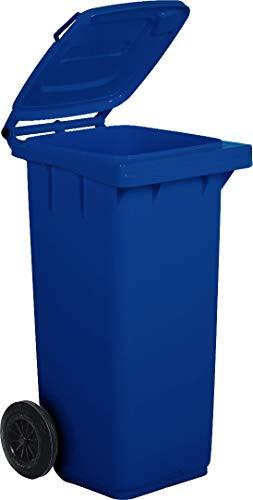 Bidone carrellato per la raccolta differenziata rifiuti Mobil Plastic 120 Lt per uso esterno - blu (UNI EN 840)