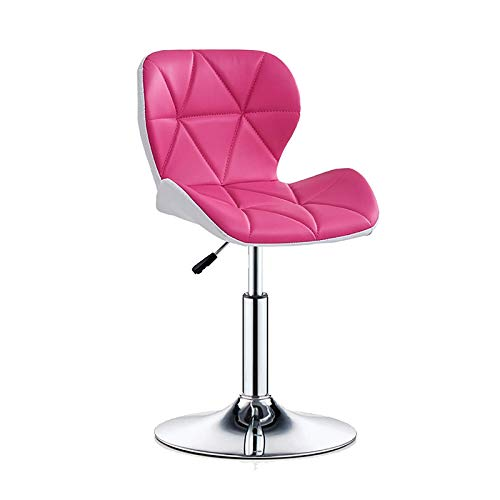 QWEA Bar Stools, Bar Chairs Breakfast Dining Stools for Kitchen Island Counter Bar Stools, Adjustable Swivel Gas Lift, Steel Footrest & Base (Color : Pink, Size : 40~53cm)
