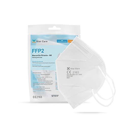Star Care Mascarilla Protectora Desechable Respiratoria FFP2 Pack de 20 uds. Homologada NB 2163. Filtración 99{3032e731e3174571a2c99a5c7357a8dba7f80cb4f38b4336762e9e997ab74122}