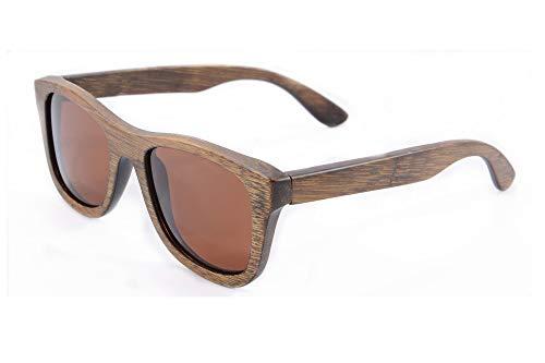 SHINU Polarizadas Gafas de Madera de Bambú Gafas de Sol Lentes de Madera Vintage y Espejos de Anteojos Gafas de Sol de los Hombres Gafas de Sol-Z6016 (bamboo brown, brown)