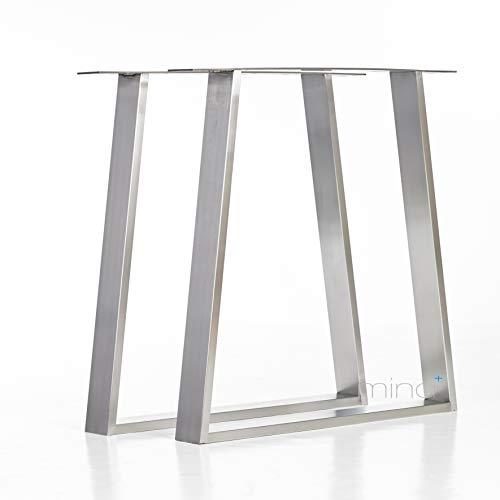 mina concept Tischgestell Trapez-Form modern I 80 x 20 mm Profil I hochwertiger Edelstahl gebürstet I 72 cm hoch I Indoor & Outdoor I Untergestell für ESS-, Schreib-, Gartentisch etc. (2)