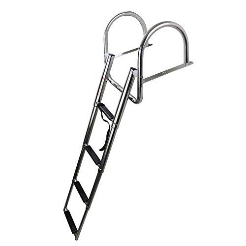 COC-LF 4 Steps Pontoon Boat Ladder, Stainless Steel Folding Telescoping Rear Entry Inboard Ladder Heavy Duty Custom Swim Deck Ladder with Pedal Hand Railing Ladder