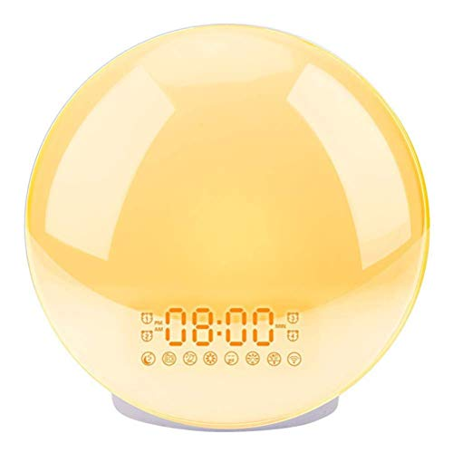 ZJHCC Led Dual Alarm Clock Lamp, Colorful Atmosphere Get Up Night Light with Various Natural Sounds And FM Radio Function Simulate Sunrise And Sunset To Wake Up Naturally