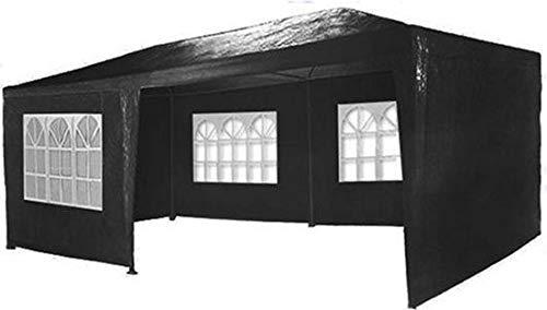MaxxGarden Gazebo da Giardino, 3 x 6 m, con 6 pareti Laterali, 4 con finestre e 2 Chiuse, giunzioni plastiche, Impermeabile, con picchetti e Corde di Tensione, Nero